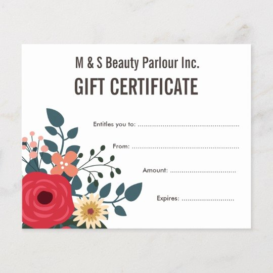 Salon Gift Certificate Template Awesome Hair Beauty Salon Gift Certificate Template