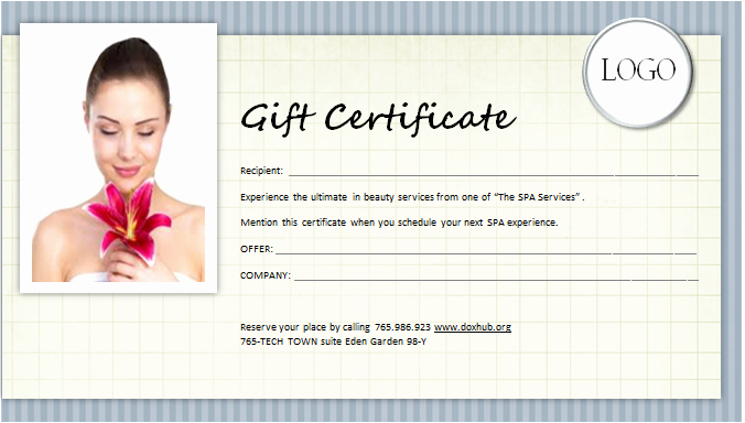 Salon Gift Certificate Template Awesome Spa Gift Certificate Template for Ms Word