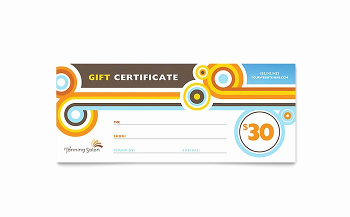 Salon Gift Certificate Template Awesome Tanning Salon Gift Certificate Template Design