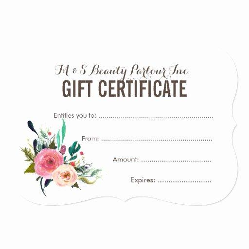 Salon Gift Certificate Template Beautiful Painted Floral Salon Gift Certificate Template Card