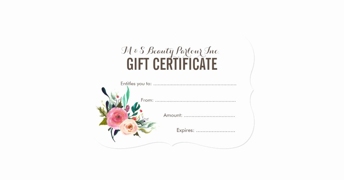 Salon Gift Certificate Template Beautiful Painted Floral Salon Gift Certificate Template