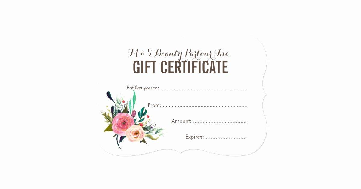 Salon Gift Certificate Template Beautiful Painted Floral Salon Gift Certificate Template