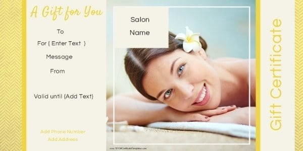 Salon Gift Certificate Template Unique Gift Certificate Templates for A Hair Salon