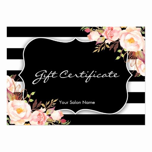 Salon Gift Certificate Templates Awesome Floral Salon Boutique Gift Certificate Template Business Card