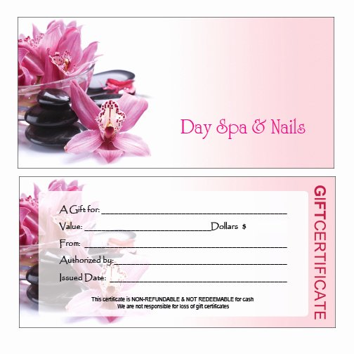 Salon Gift Certificate Templates Best Of Hair Nail Spa Printing