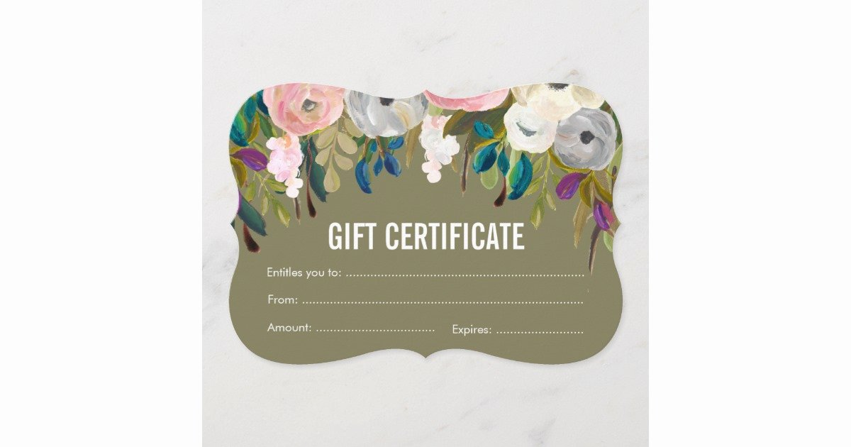 Salon Gift Certificate Templates Fresh Painted Floral Salon Gift Certificate Template