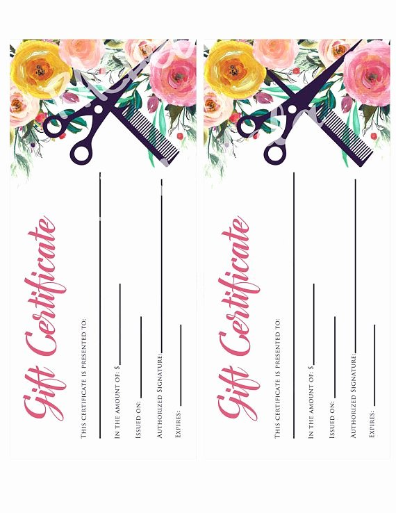 Salon Gift Certificate Templates Fresh Printable Hair Salon Gift Certificate Template Hair Stylist Gift Voucher Gift Card Instant