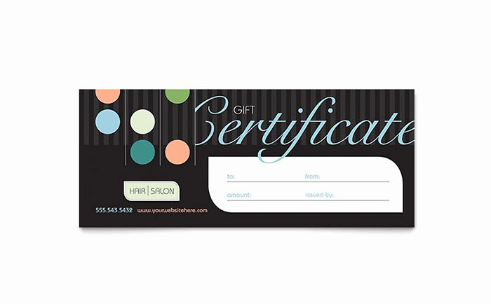 Salon Gift Certificate Templates Lovely Beauty & Hair Salon Gift Certificate Template Word & Publisher