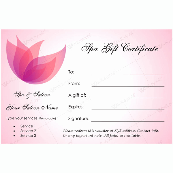 Salon Gift Certificate Templates New 50 Spa Gift Certificate Designs to Try This Season