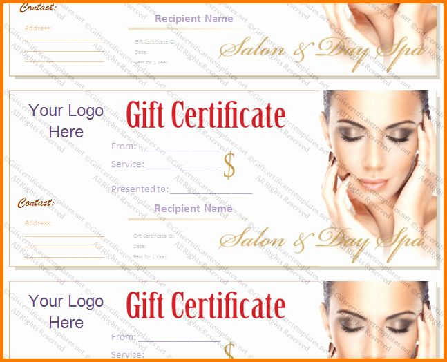 Salon Gift Certificates Templates Elegant Salon T Certificate Template