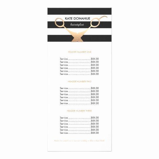 Salon Price List Template Best Of Scissors Black and White Striped Salon Price List Rack