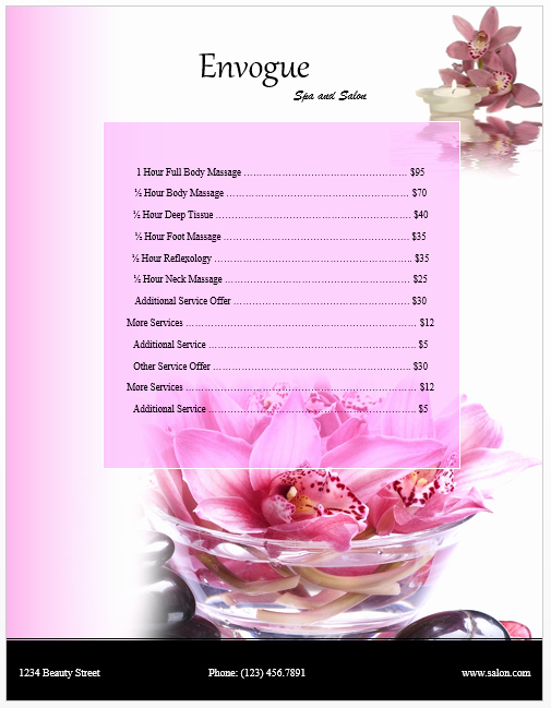 Salon Price List Template Best Of Spa Price List Template Microsoft Word Templates