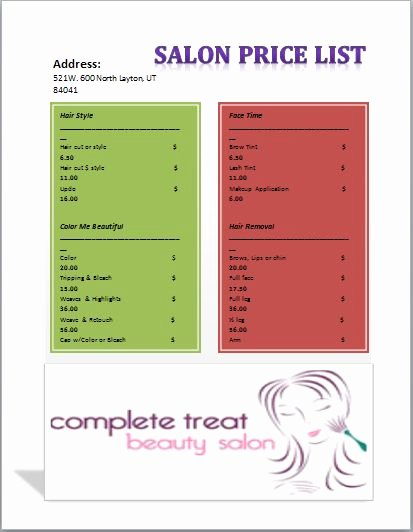 Salon Price List Template Fresh 127 Best Images About Templates On Pinterest