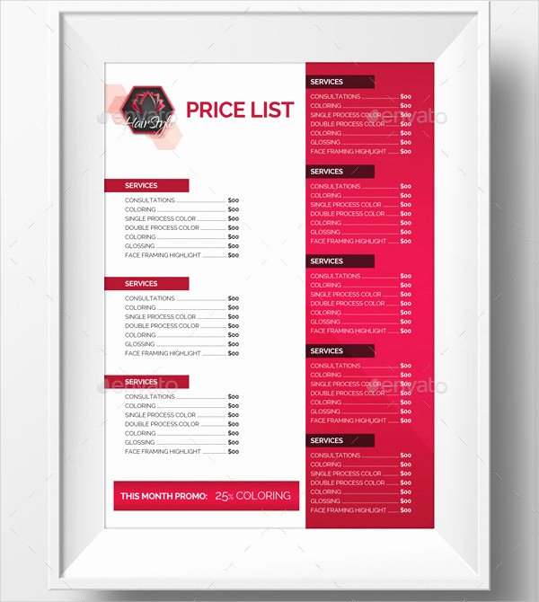 Salon Price List Template Fresh 23 Printable Price List Templates Free & Premium Download