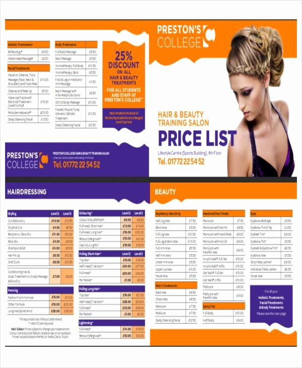 Salon Price List Template Inspirational Salon Price List Sample 9 Examples In Word Pdf