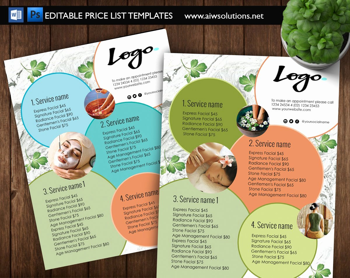 Salon Price List Template Inspirational Spa Menu Price List Id09 Flyer Templates Creative Market