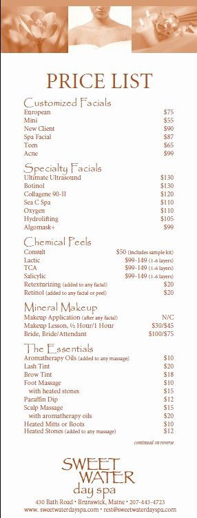 Salon Price List Template Lovely 10 Free Sample Spa Price List Templates Printable Samples