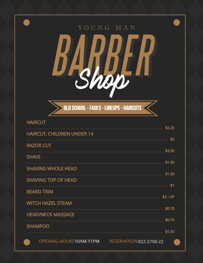 Salon Price List Template New Modern Price List for Men S Barber Shop and Salon