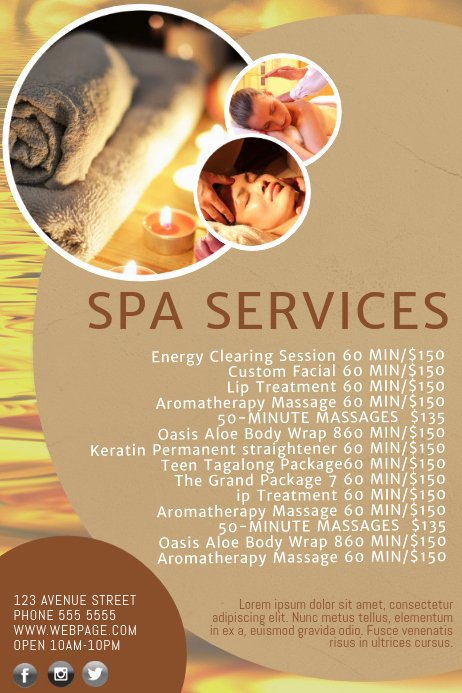 Salon Price List Template New Spa Salon Price List Template