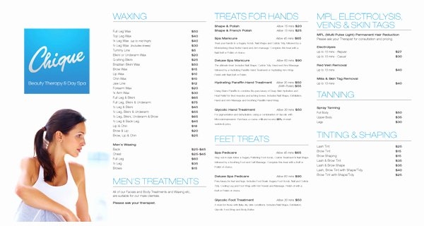 Salon Price List Template Unique Printable Spa Menu and Price List Template Microsoft