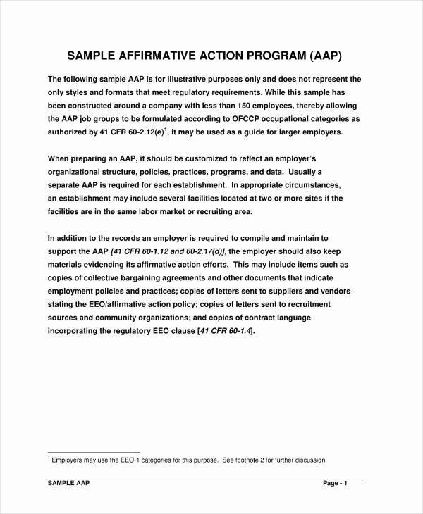 Sample Affirmative Action Plan Luxury 8 Affirmative Action Plan Templates Pdf Word