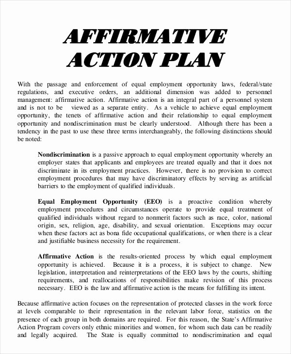 Sample Affirmative Action Plans Best Of 26 Action Plan Templates Word Pdf