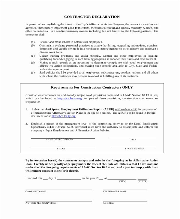 Sample Affirmative Action Plans Lovely Free 8 Sample Affirmative Action forms In Sample Example format