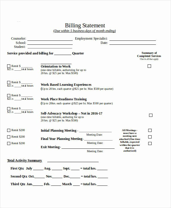 Sample attorney Billing Statement Best Of Free 7 Billing Statement Examples & Samples In Pdf Pages Doc