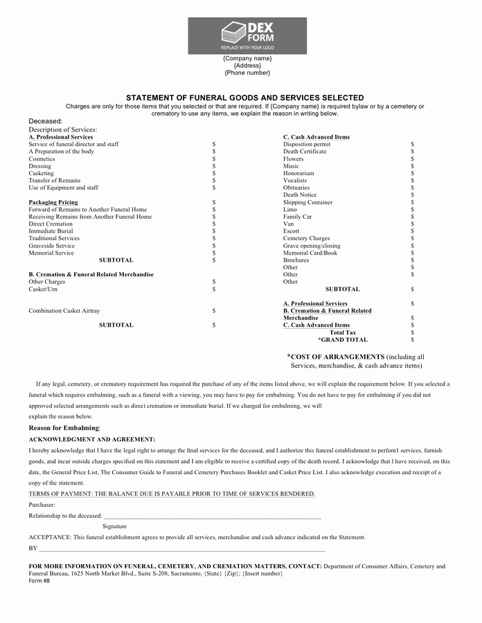 Sample attorney Billing Statement Elegant Funeral Billing Statement Template In Word and Pdf formats