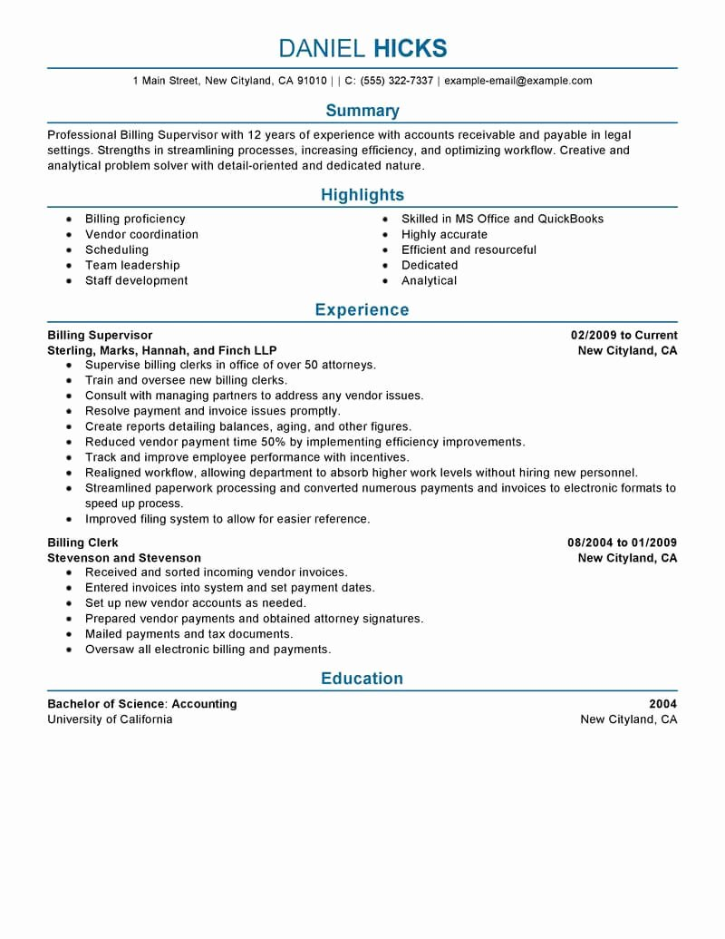 Sample attorney Billing Statement Unique Best Legal Billing Clerk Resume Example From Professional Resume Writing Service