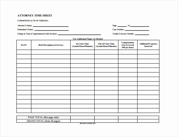 Sample attorney Time Billing Sheet Awesome 14 Time Sheet Templates – Free Sample Example format Download