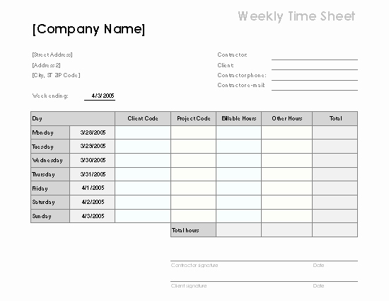 Sample attorney Time Billing Sheet Unique Weekly Time Sheet by Client and Project