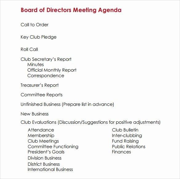 Sample Board Meeting Agenda Beautiful Free 11 Sample Board Meeting Agenda Templates In Pdf