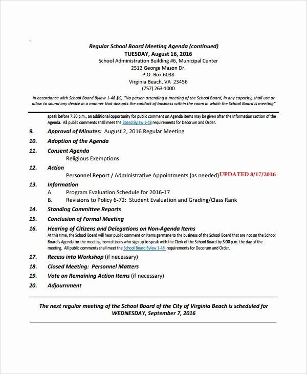 Sample Board Meeting Agenda Best Of Sample Board Meeting Agenda 7 Documents In Pdf Word