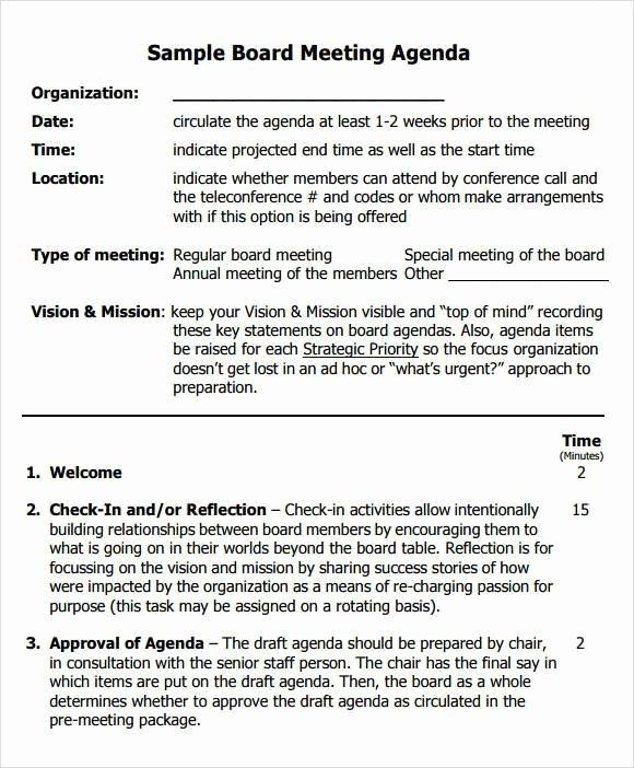 Sample Board Meeting Agenda Elegant Free 23 Meeting Agenda Samples and Templates In Pdf