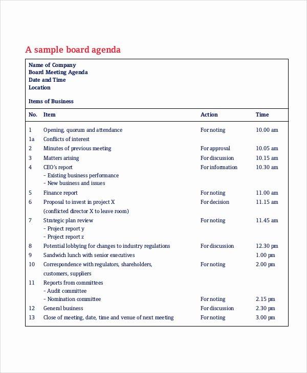 Sample Board Meeting Agenda Elegant Free Agenda Sample 40 Examples In Word Pdf