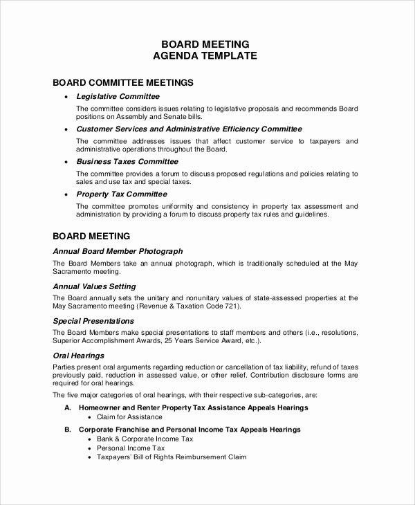 Sample Board Meeting Agenda Elegant Sample Meeting Agenda 20 Examples In Pdf Word