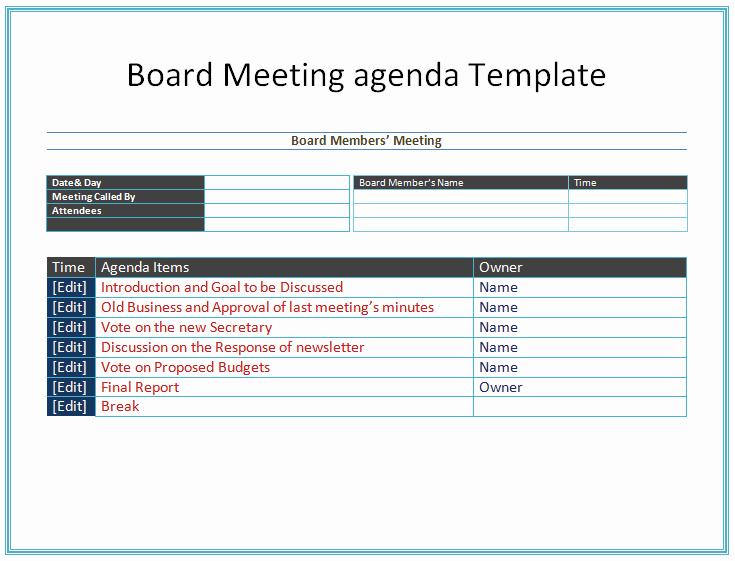 Sample Board Meeting Agenda Fresh Board Meeting Agenda Template Easy Agendas