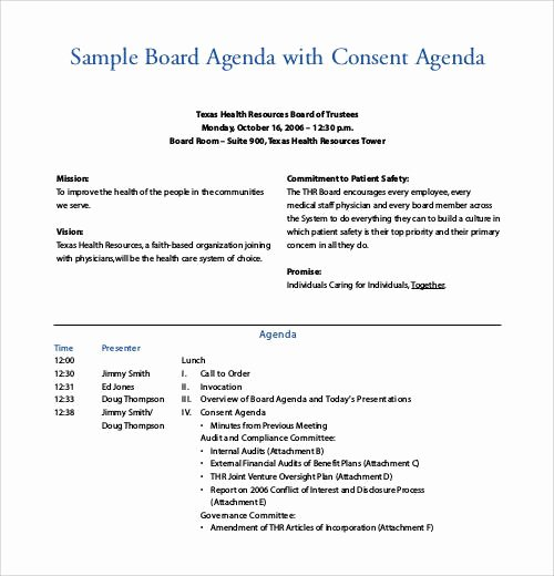 Sample Board Meeting Agenda Fresh Sample Agenda Template 41 Download Free Documents In
