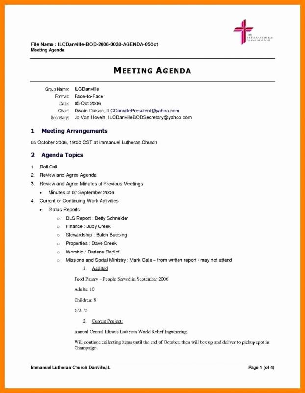 Sample Board Meeting Agenda Inspirational Corporate Minutes Template