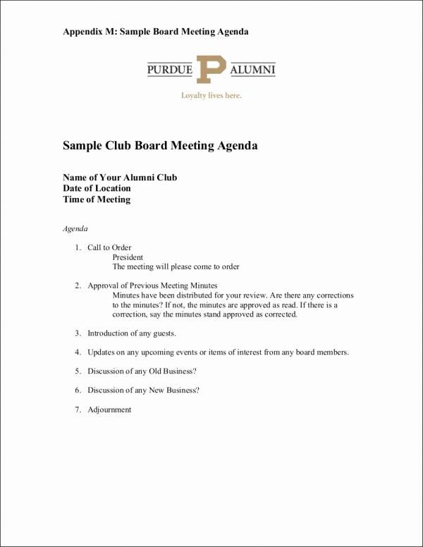 Sample Board Meeting Agenda Lovely 9 Board Agenda Samples & Templates Pdf Doc