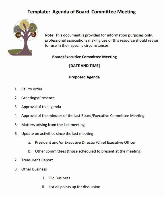 Sample Board Meeting Agenda Luxury Free 11 Sample Board Meeting Agenda Templates In Pdf