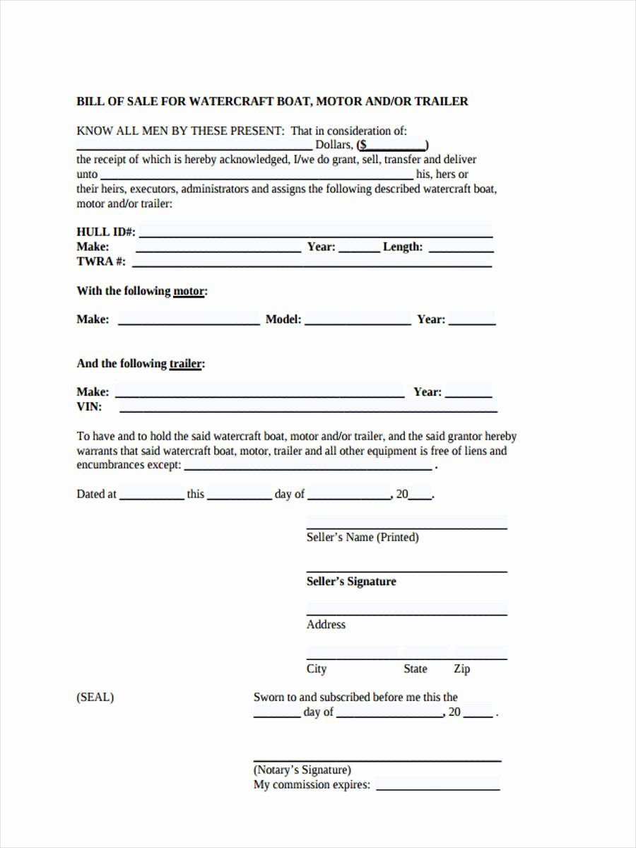 Sample Boat Bill Of Sale Awesome 6 Motor Bill Of Sale forms Free Documents In Word Pdf