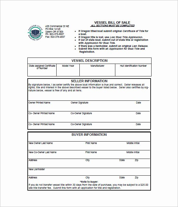 Sample Boat Bill Of Sale Awesome 8 Boat Bill Of Sale Free Sample Example format Download