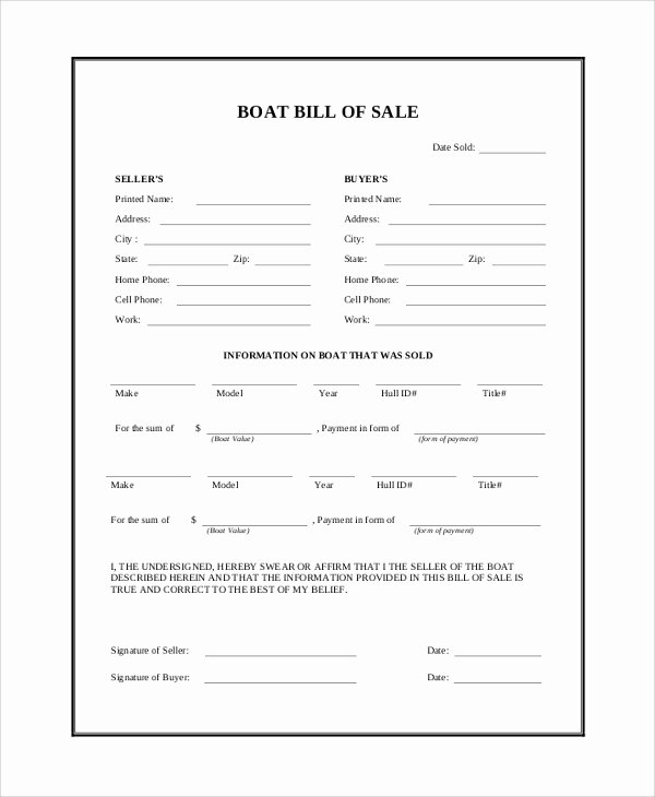 Sample Boat Bill Of Sale Beautiful Sample Bill Of Sale 9 Examples In Pdf Word