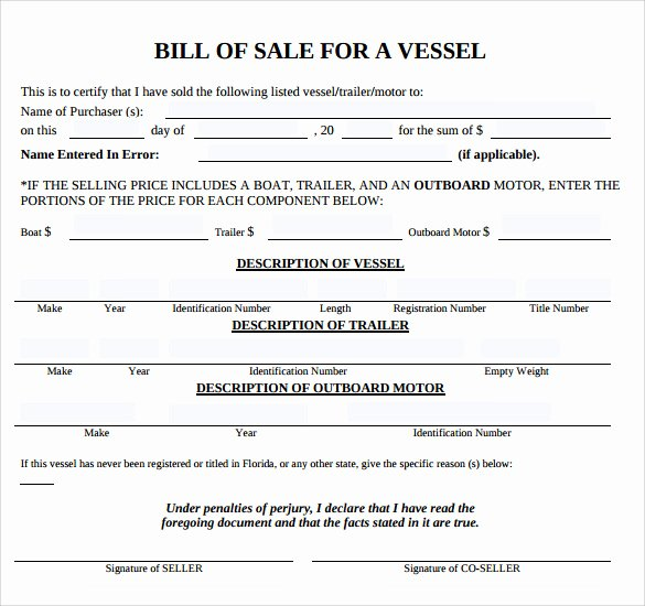 Sample Boat Bill Of Sale Beautiful Sample Boat Bill Of Sale Template 7 Free Documents In Pdf Word