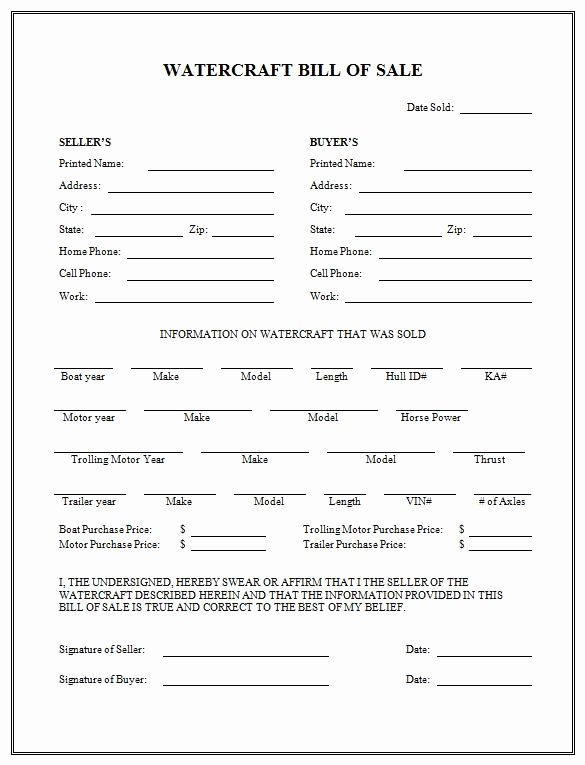 Sample Boat Bill Of Sale Best Of Free Printable Boat Bill Sale form Generic