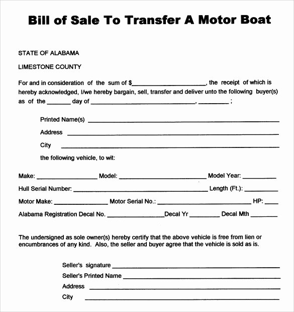 Sample Boat Bill Of Sale Elegant Sample Boat Bill Of Sale Template 8 Free Documents In Pdf Word