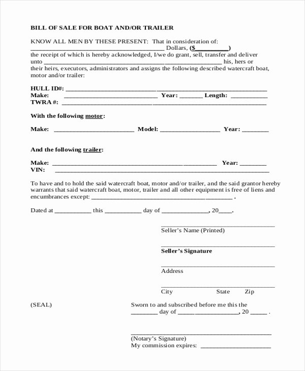 Sample Boat Bill Of Sale Luxury Free 9 Sample Trailer Bill Of Sale forms In Pdf