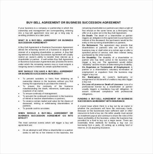 Sample Buy Sell Agreements Beautiful 25 Buy Sell Agreement Templates Word Pdf